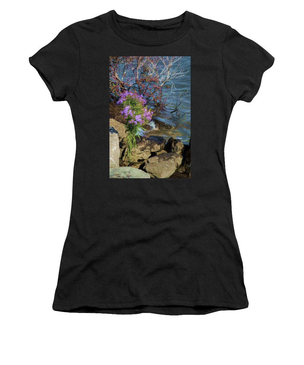 Flowers Women's T-Shirt featuring the painting Painted River Flower by Melvin Busch