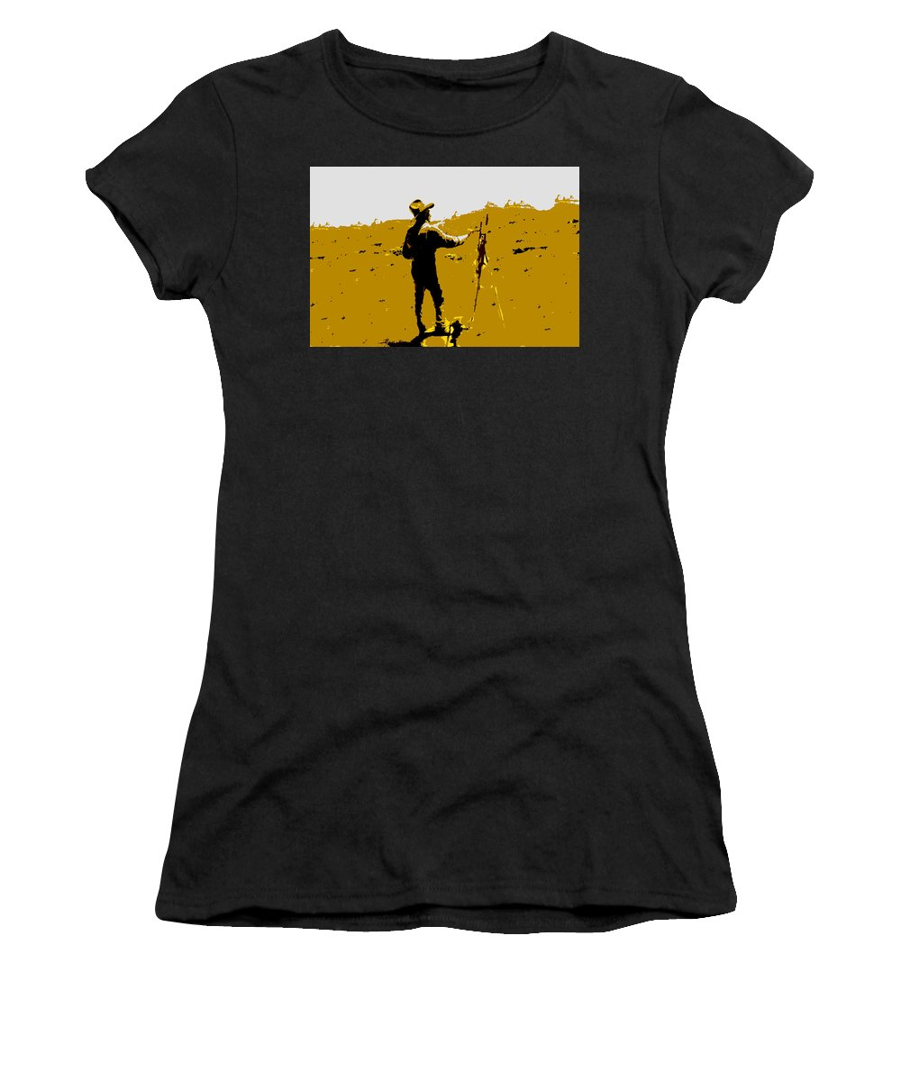 Painting Women's T-Shirt (Athletic Fit) featuring the painting Painting Cowboy by David Lee Thompson