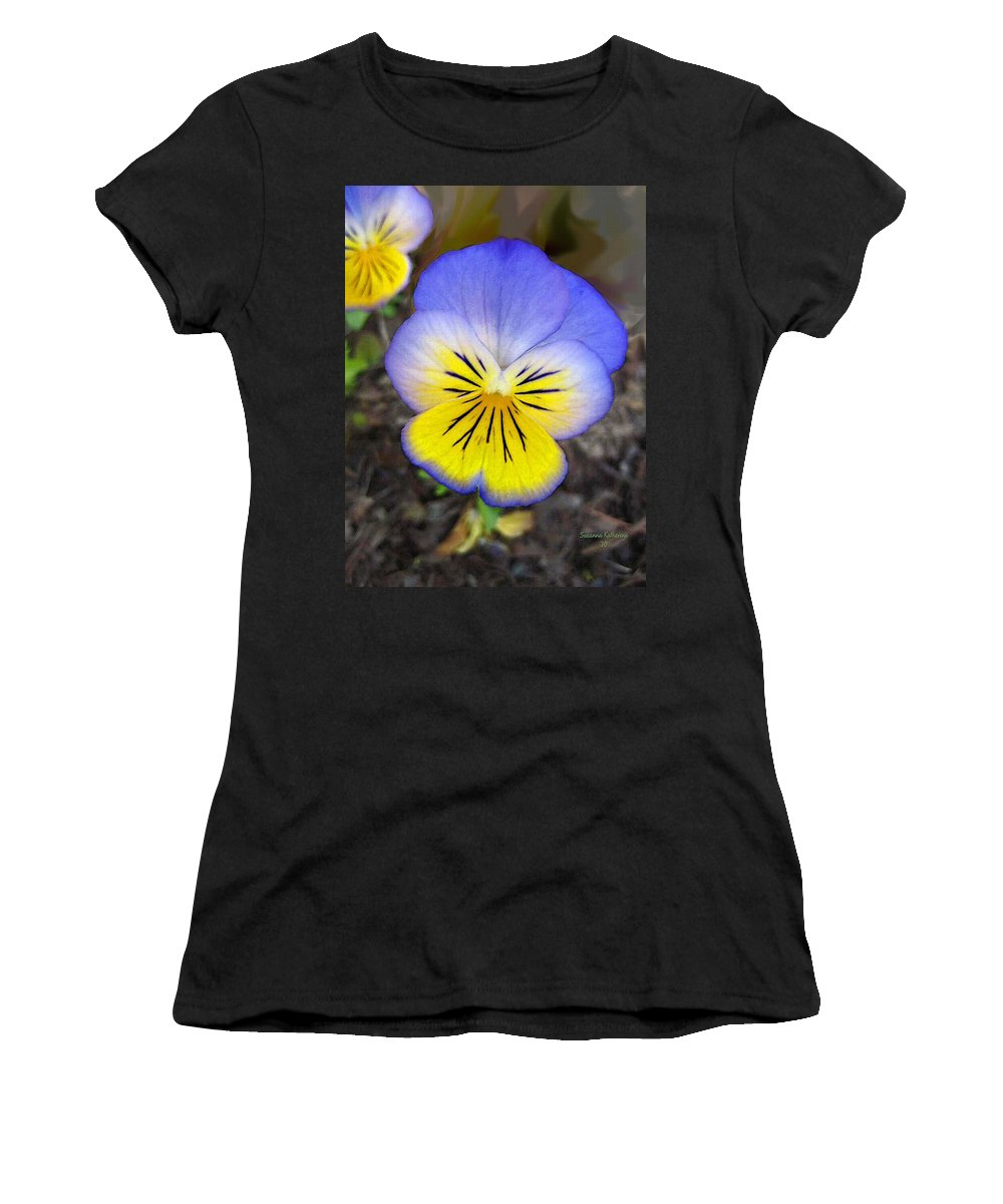 Flower Women's T-Shirt featuring the painting Painting Of Pansey Flower by Susanna Katherine