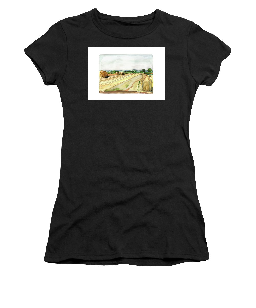 French Countryside Women's T-Shirt (Athletic Fit) featuring the painting Paizay-le-tort, Au Sud Des Deux-sevres by Joan Cordell