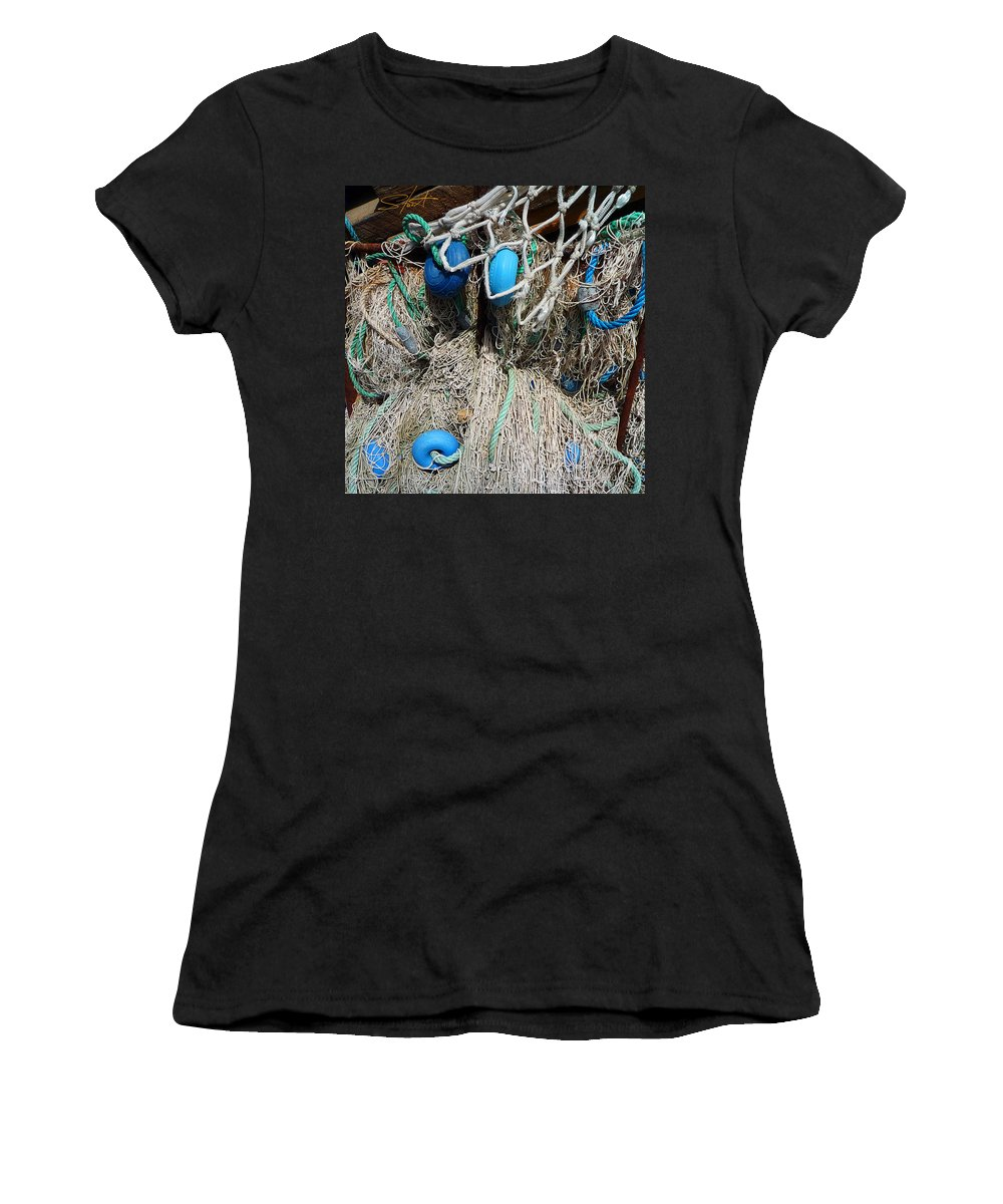 Fishing Net Women's T-Shirt (Athletic Fit) featuring the photograph Pale Blue Rider by Charles Stuart