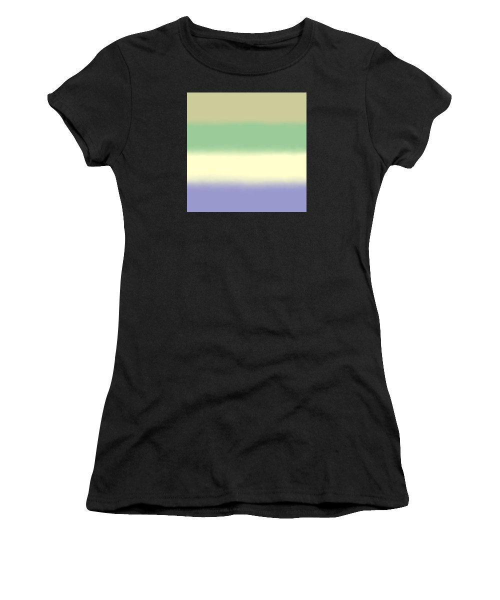 Pale Iris - Abstract Women's T-Shirt (Athletic Fit) featuring the digital art Pale Iris - Sq Block by Custom Home Fashions