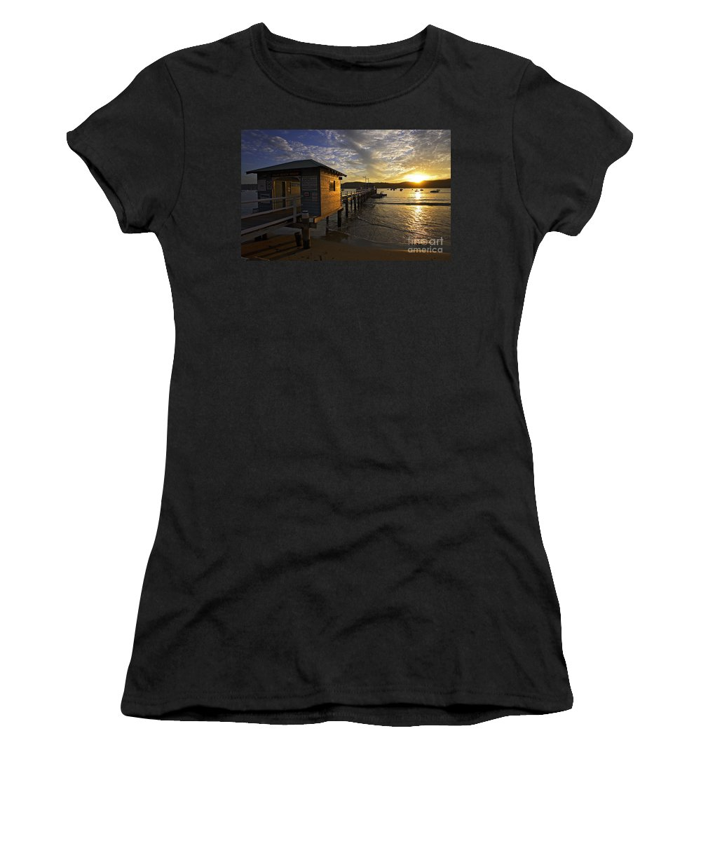 Palm Beach Sydney Australia Sunset Water Pittwater Women's T-Shirt (Athletic Fit) featuring the photograph Palm Beach Sunset by Avalon Fine Art Photography