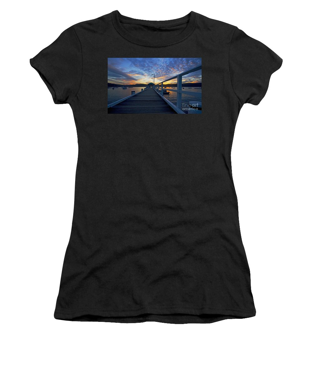 Palm Beach Sydney Wharf Sunset Dusk Water Pittwater Women's T-Shirt (Athletic Fit) featuring the photograph Palm Beach Wharf At Dusk by Sheila Smart Fine Art Photography