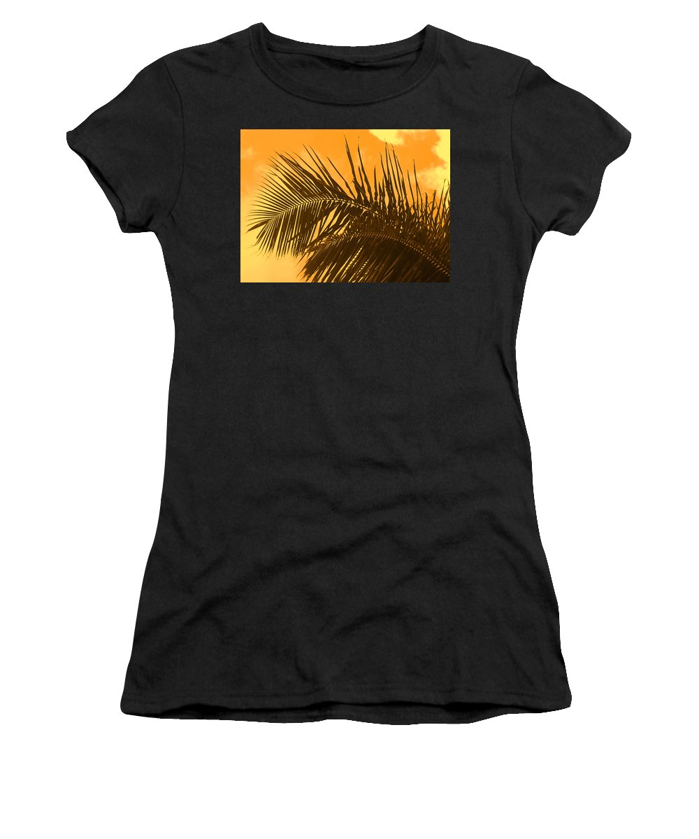 Palm Women's T-Shirt (Athletic Fit) featuring the photograph Palm Frond Sunset by Ian MacDonald
