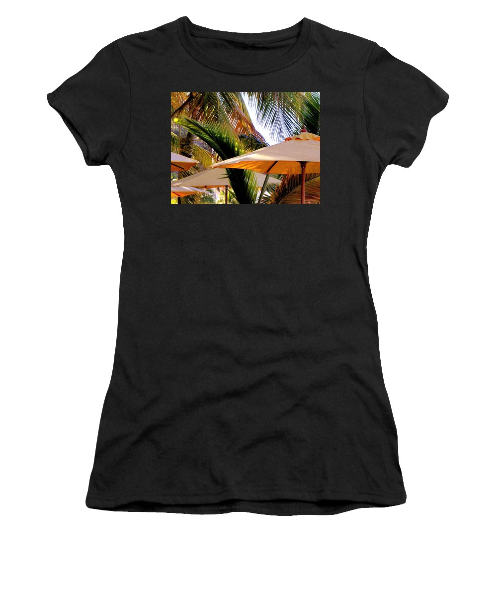 Umbrellas Women's T-Shirt featuring the photograph Palm Serenity by Karen Wiles