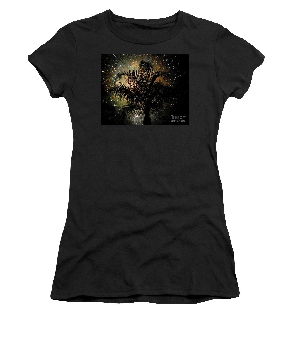 Fireworks Women's T-Shirt (Athletic Fit) featuring the photograph Palm Tree Fireworks by David Lee Thompson