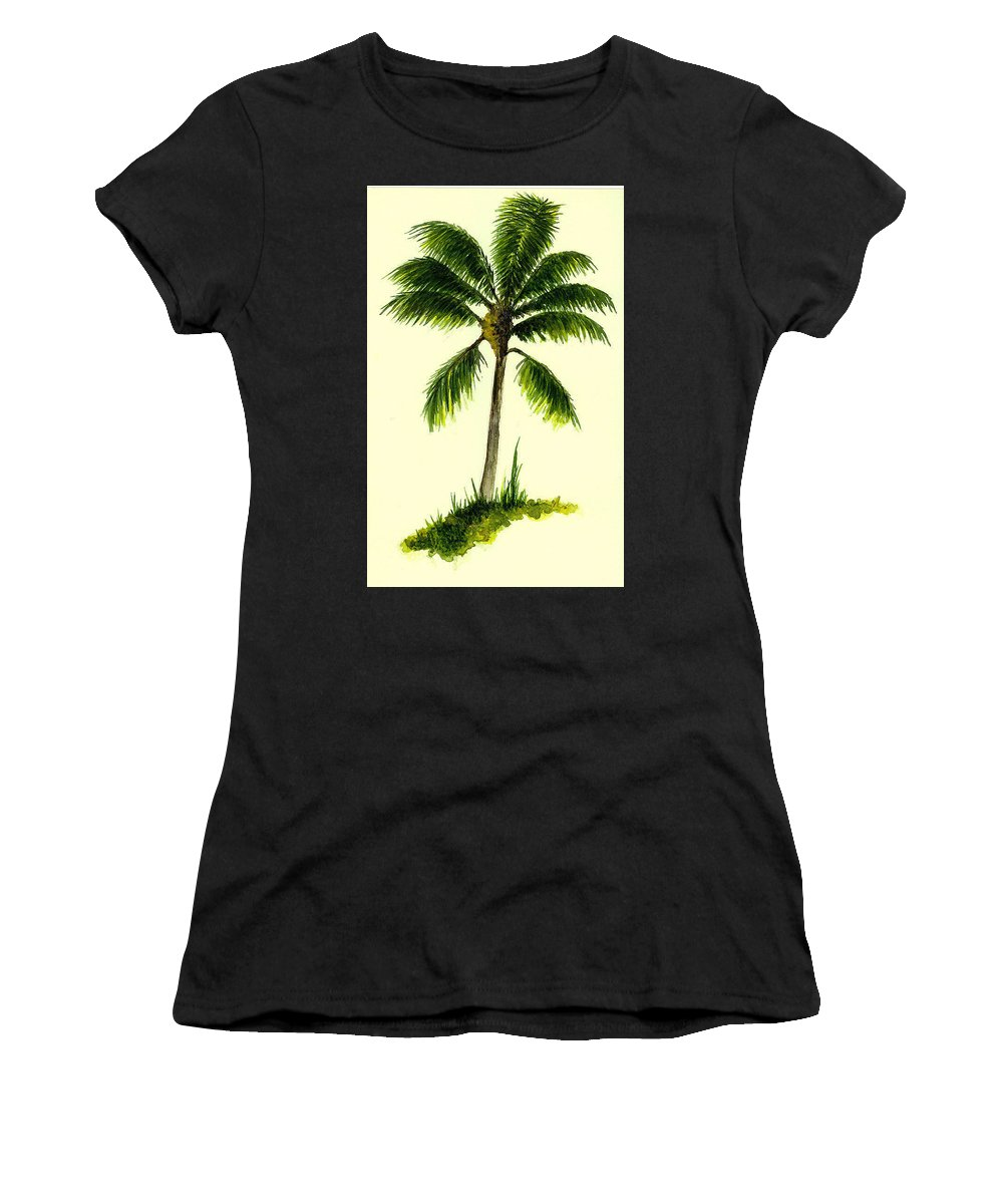 Tree Women's T-Shirt featuring the painting Palm Tree Number 1 by Michael Vigliotti