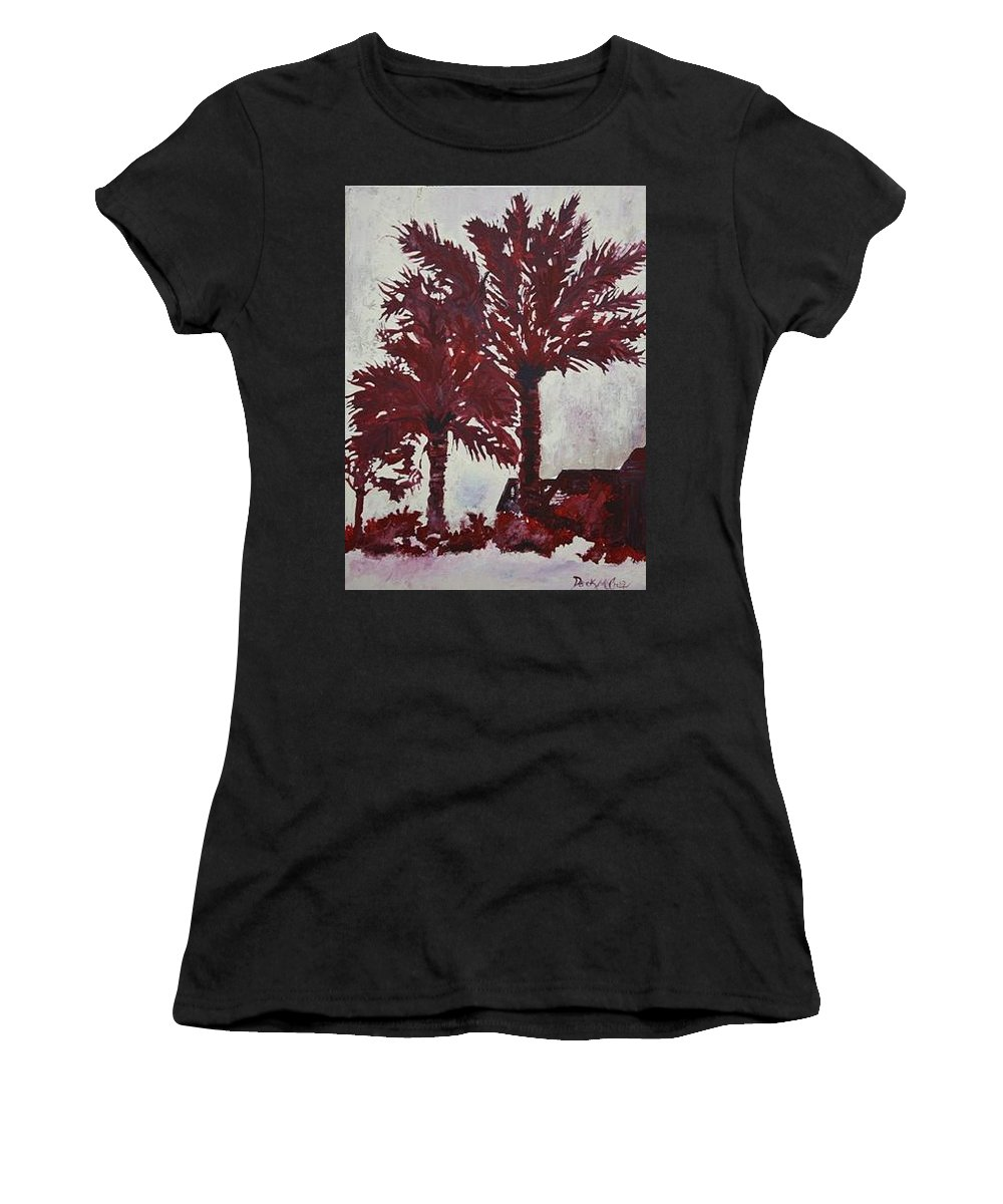 Palm Trees Women's T-Shirt (Athletic Fit) featuring the painting Palm Trees Acrylic Modern Art Painting by Derek Mccrea