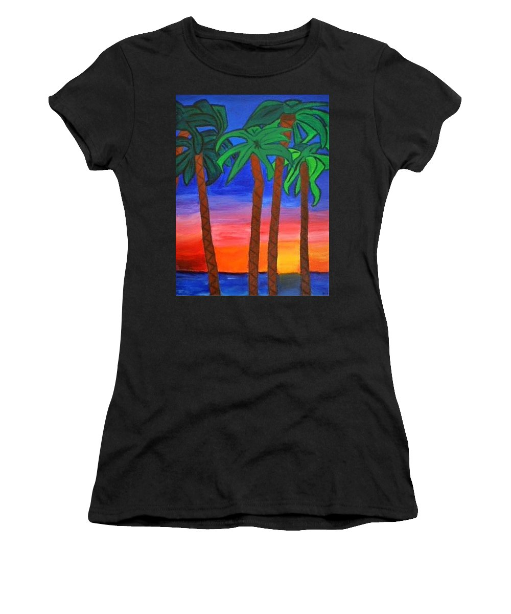 Women's T-Shirt (Athletic Fit) featuring the painting Palm Trees by Annie Gigon