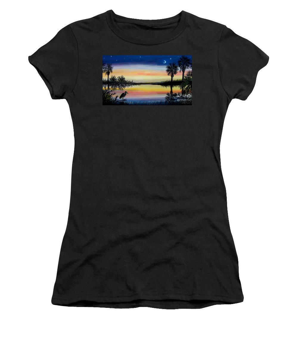 Palmetto Night Women's T-Shirt (Athletic Fit) featuring the painting Palmetto Tree And Moon Low Country Sunset by Patricia L Davidson