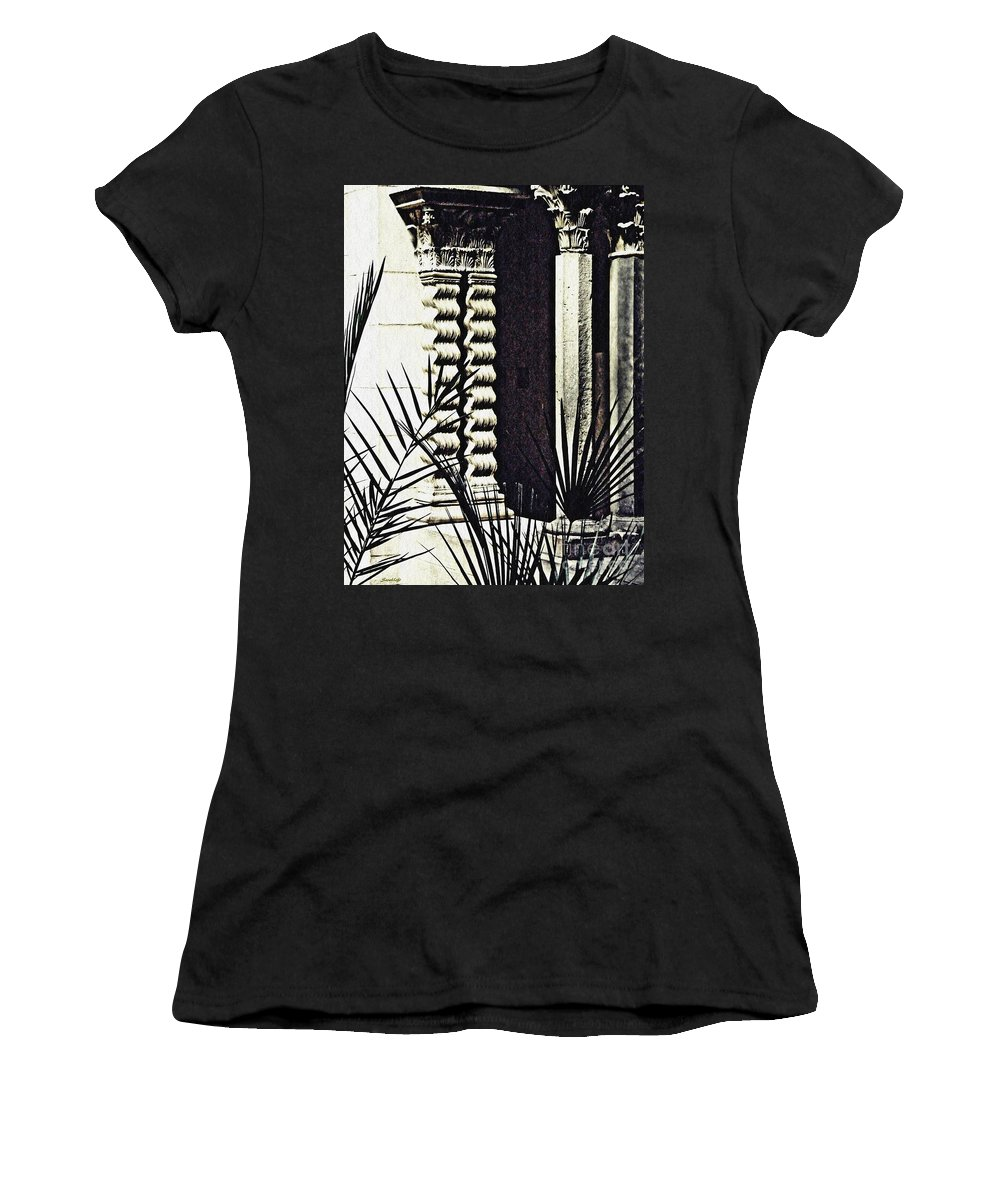 Palms Women's T-Shirt (Athletic Fit) featuring the photograph Palms And Columns by Sarah Loft