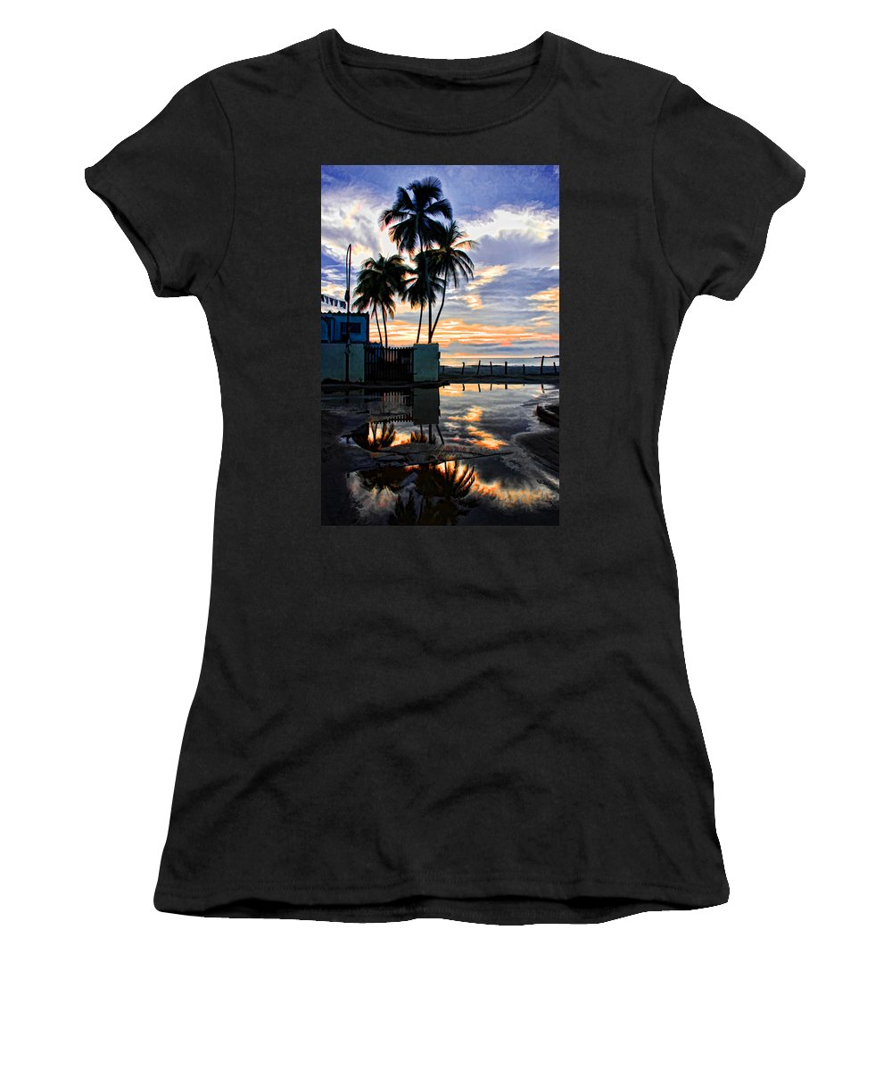 Palms Women's T-Shirt (Athletic Fit) featuring the photograph Palms And Sunshine by Galeria Trompiz
