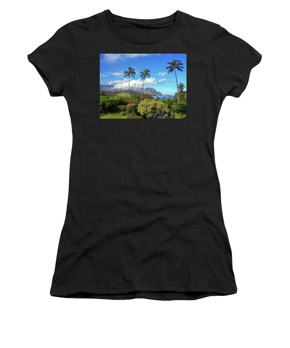 Landscape Women's T-Shirt (Athletic Fit) featuring the photograph Palms At Hanalei by James Eddy