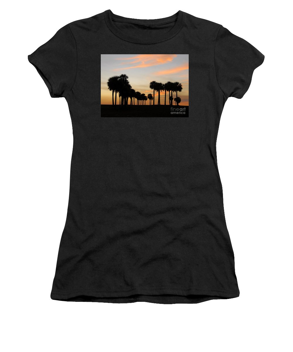Palm Trees Women's T-Shirt featuring the photograph Palms At Sunset by David Lee Thompson