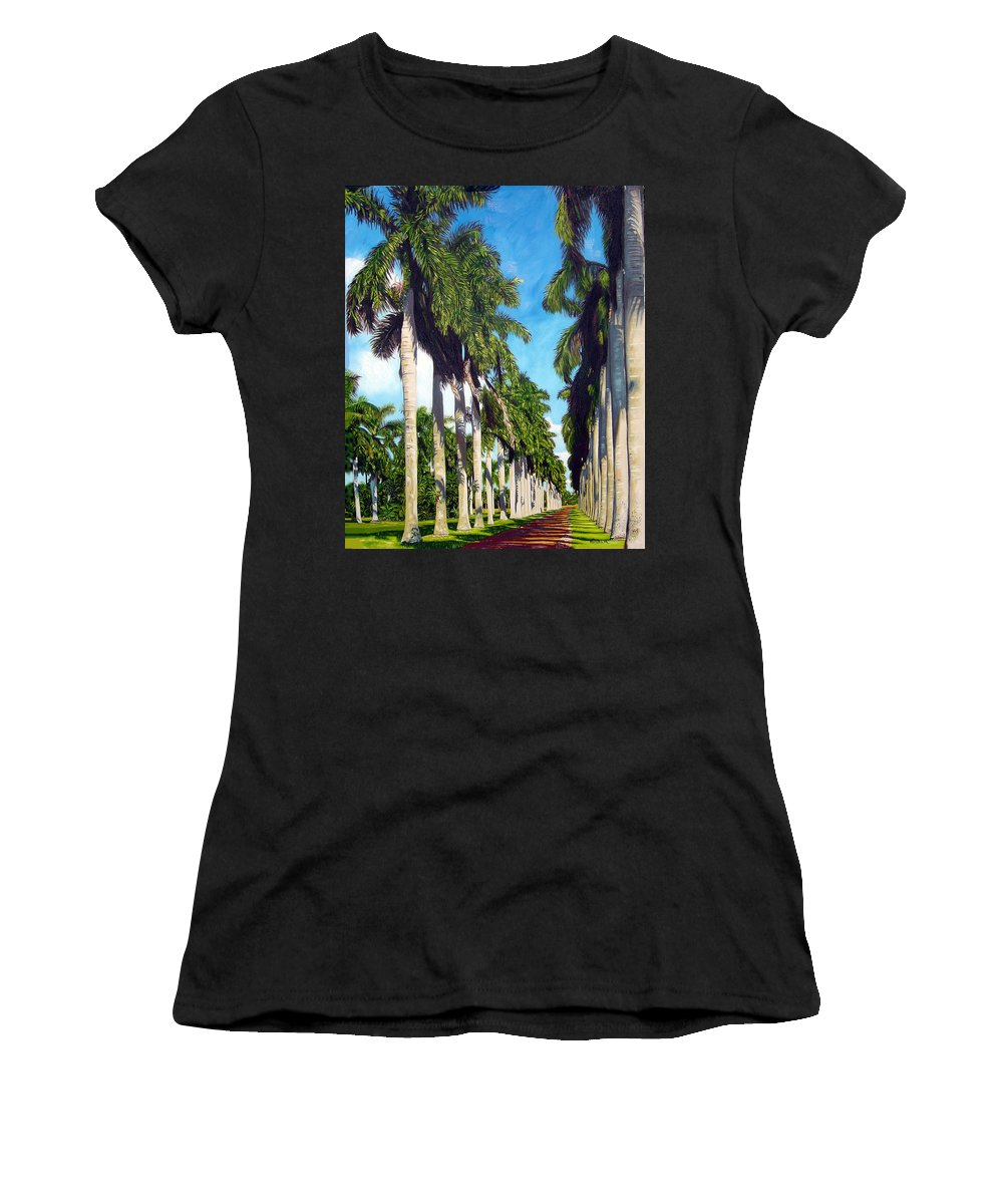 Palms Women's T-Shirt (Athletic Fit) featuring the painting Palms by Jose Manuel Abraham