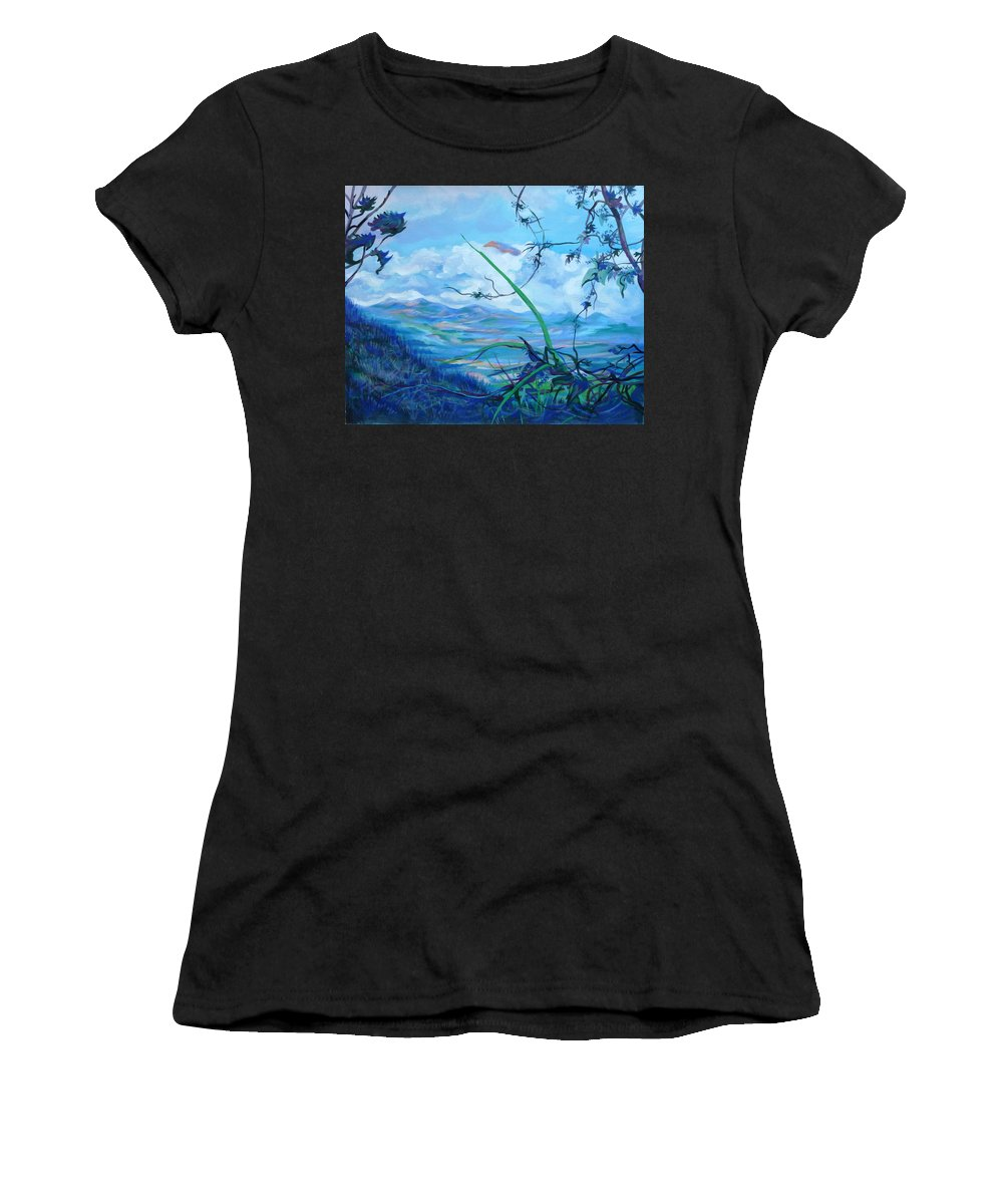 Landscape Women's T-Shirt (Athletic Fit) featuring the painting Panama. Anton Valley by Anna Duyunova