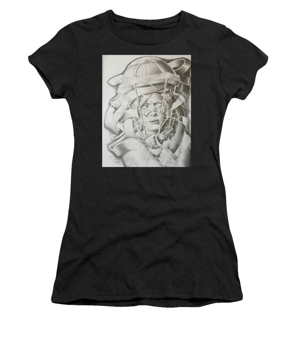 Women's T-Shirt (Athletic Fit) featuring the drawing Pandora Black Ribbon Collection #1 by Delbert Cobb