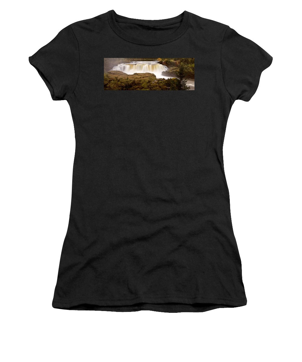 Women's T-Shirt featuring the digital art Panoramic Waterfall Manitoba by Mark Duffy