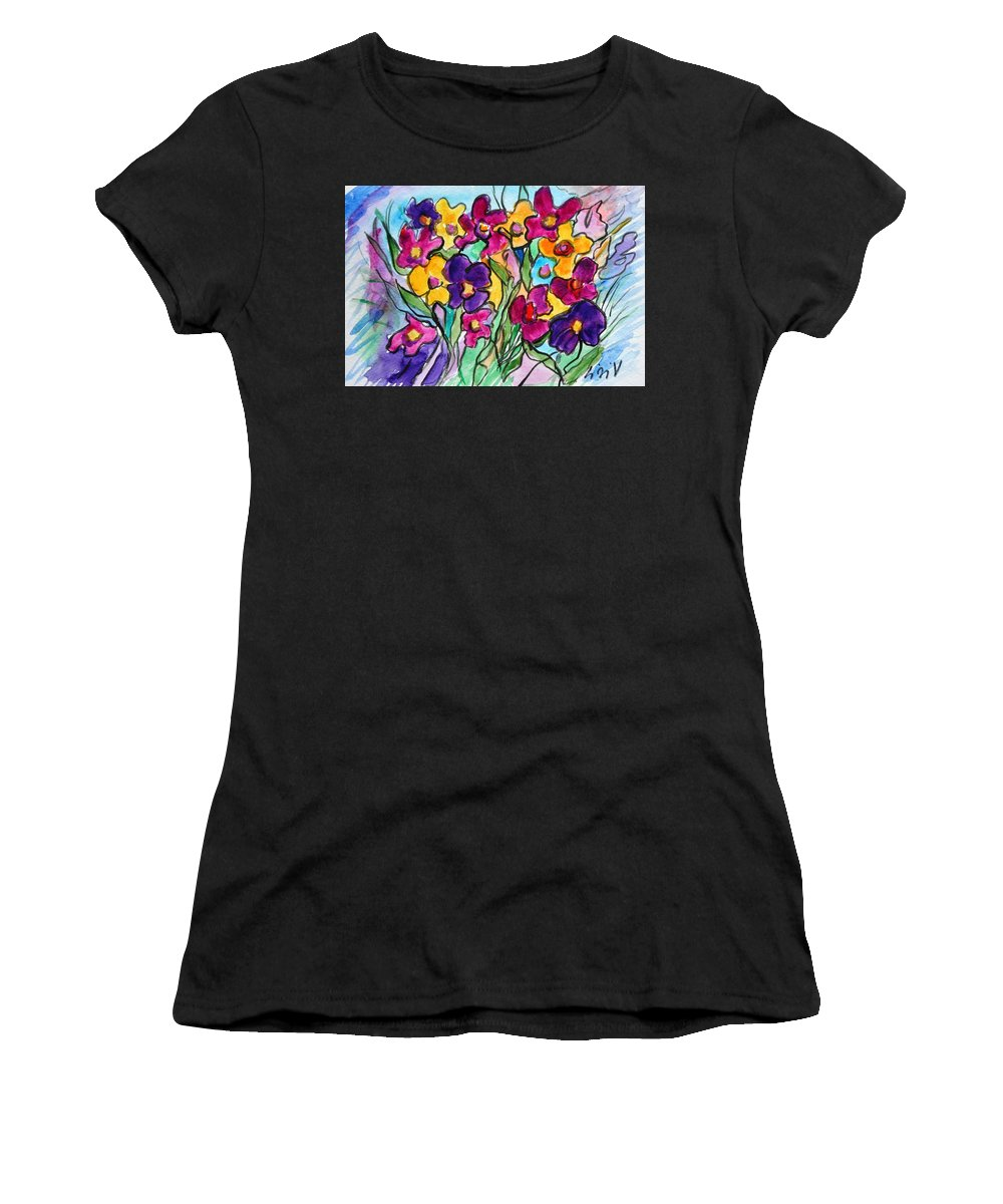 Flowers Women's T-Shirt featuring the painting Pansies by Luiza Vizoli