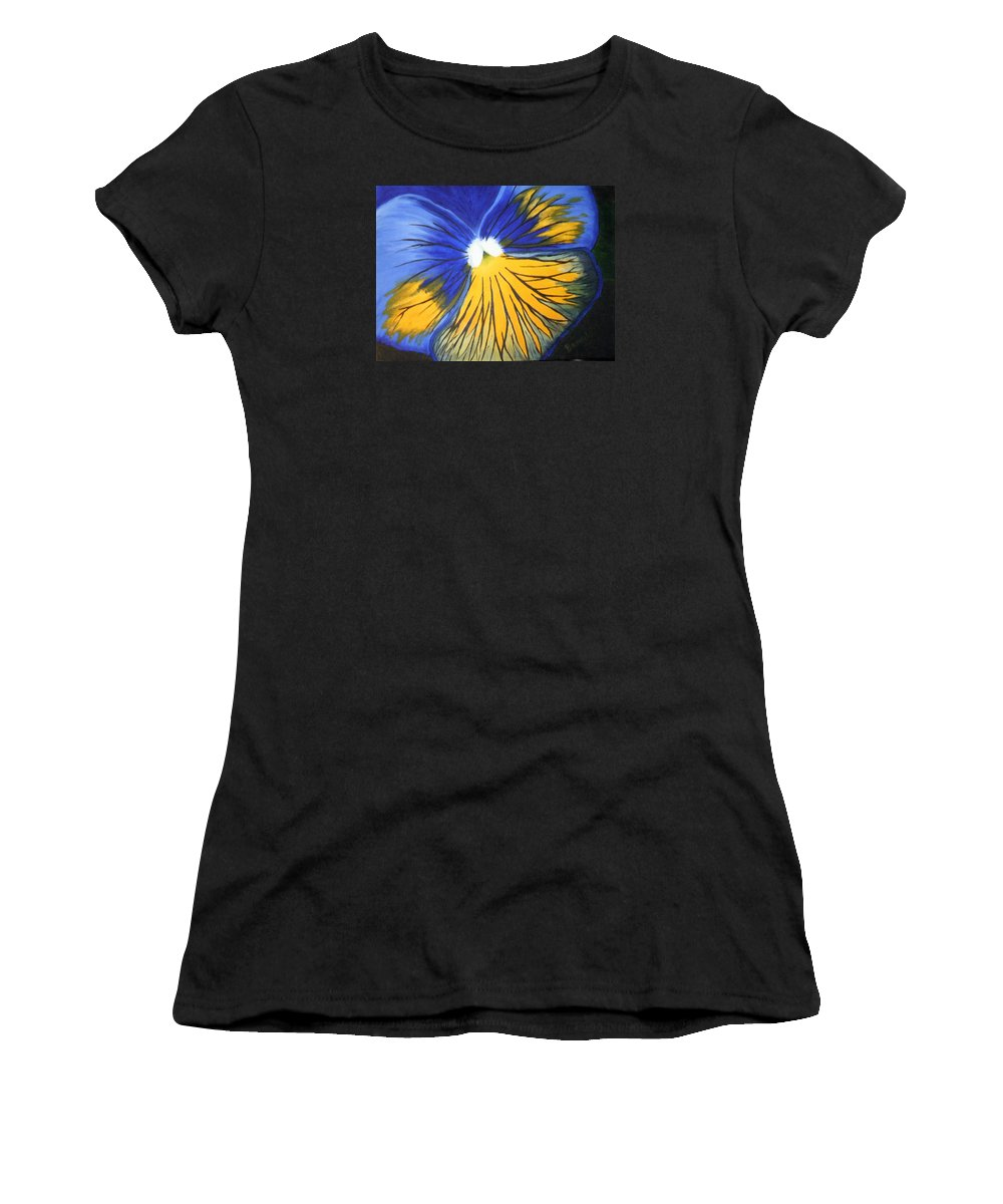 Pansy Women's T-Shirt (Athletic Fit) featuring the painting Pansy Face by Brandy House