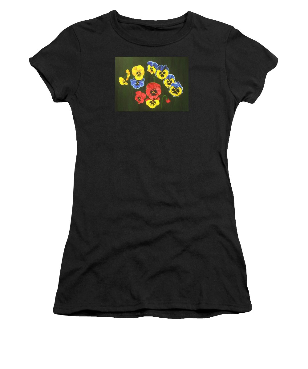 Pansy Flowers Women's T-Shirt (Athletic Fit) featuring the painting Pansy Lions Too by Brandy House