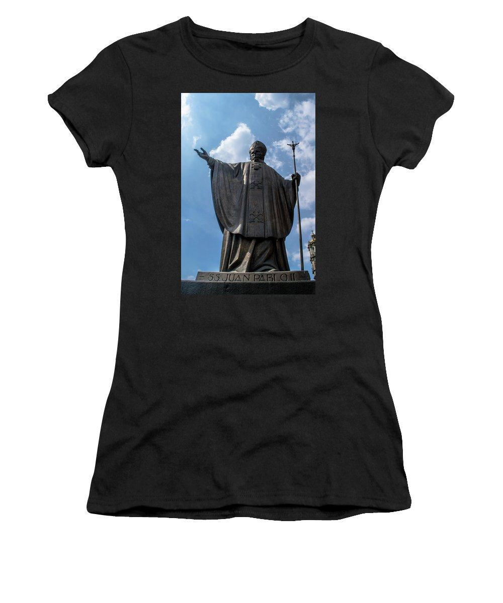 Basilica De Guadalupe Women's T-Shirt (Athletic Fit) featuring the photograph Papa Juan Pablo II - Mexico City IIi by Totto Ponce