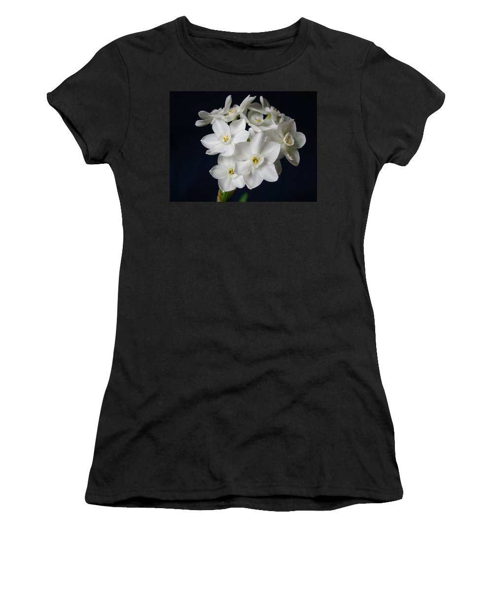 Paperwhite Flowers Women's T-Shirt featuring the photograph Paperwhites by Sandy Keeton