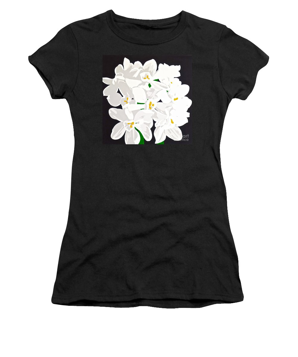 Acrylic Women's T-Shirt (Athletic Fit) featuring the painting Paperwhites by Susan Porter