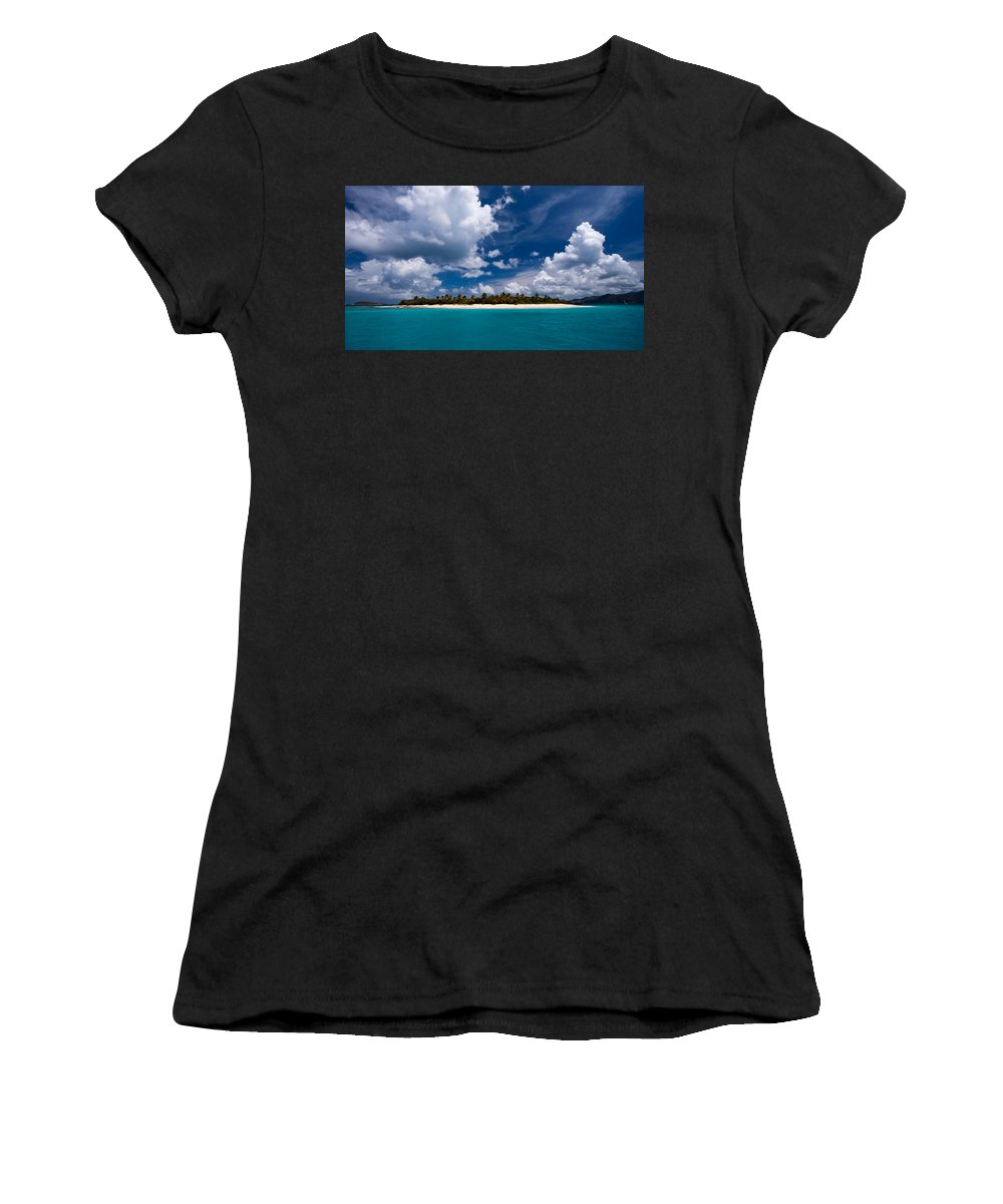 3scape Women's T-Shirt (Athletic Fit) featuring the photograph Paradise Is Sandy Cay by Adam Romanowicz