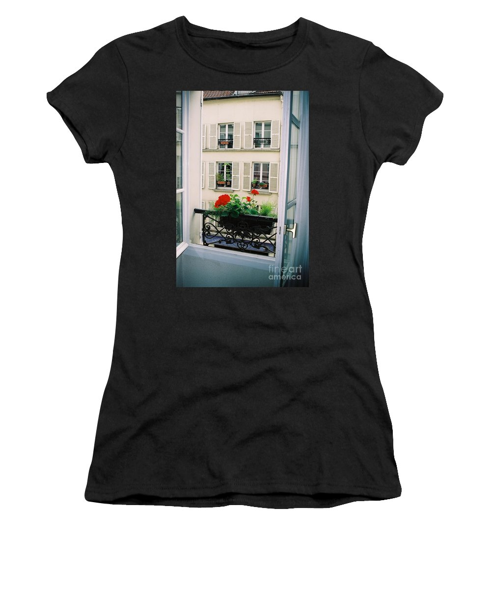 Window Women's T-Shirt featuring the photograph Paris Day Windowbox by Nadine Rippelmeyer