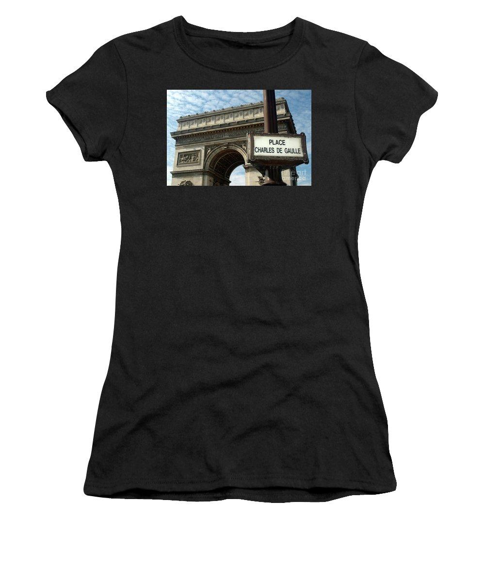 Arc Women's T-Shirt (Athletic Fit) featuring the photograph Paris France. Larc De Triomphe On Place Charles De Gaulle by Richard Wareham