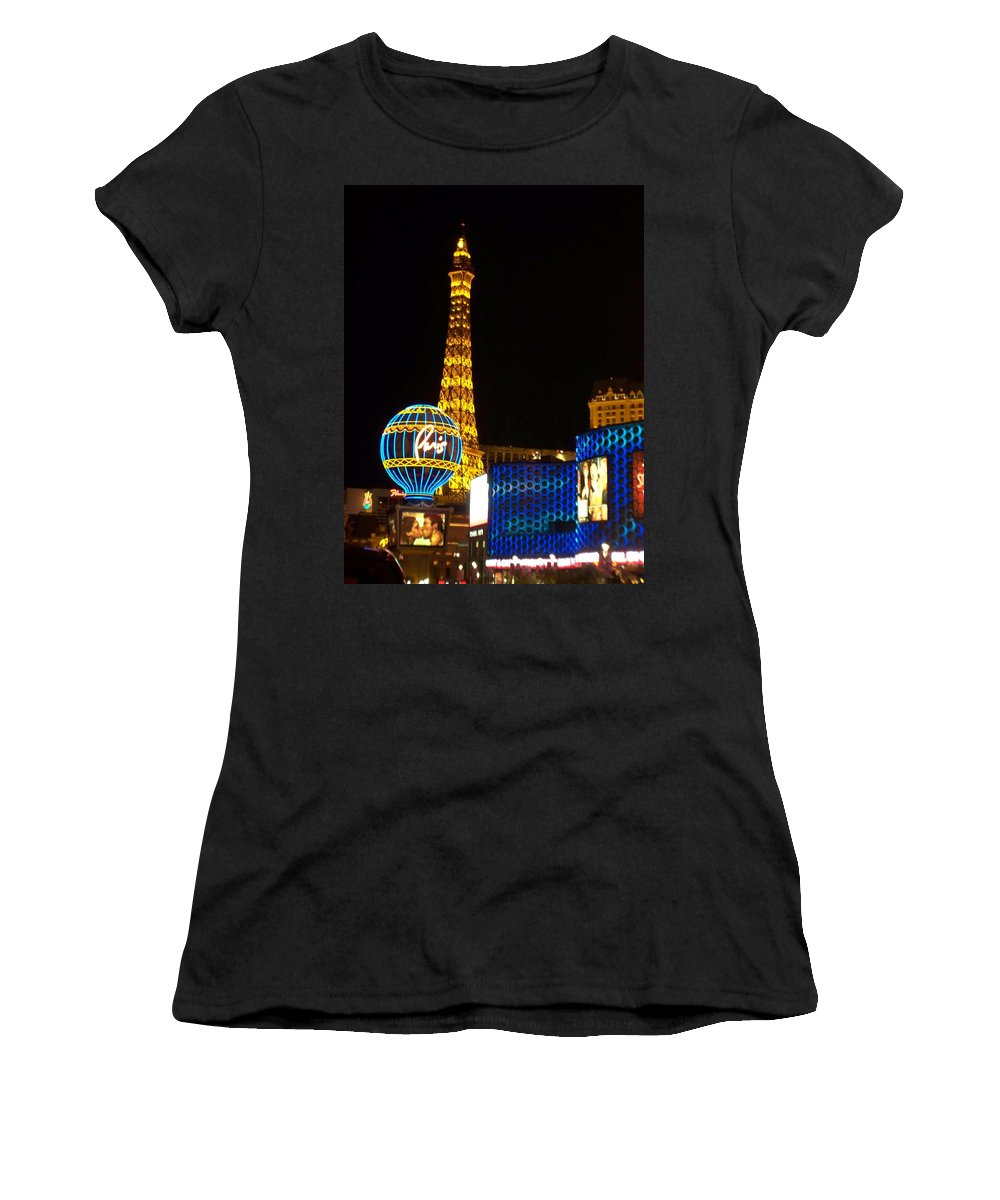 Vegas Women's T-Shirt (Athletic Fit) featuring the photograph Paris Hotel At Night by Anita Burgermeister