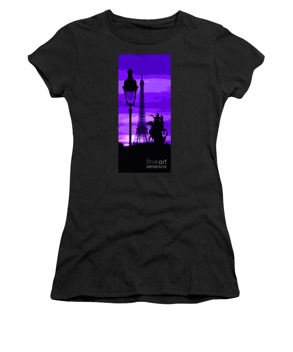Paris Women's T-Shirt (Athletic Fit) featuring the photograph Paris Tour Eiffel Violet by Yuriy Shevchuk