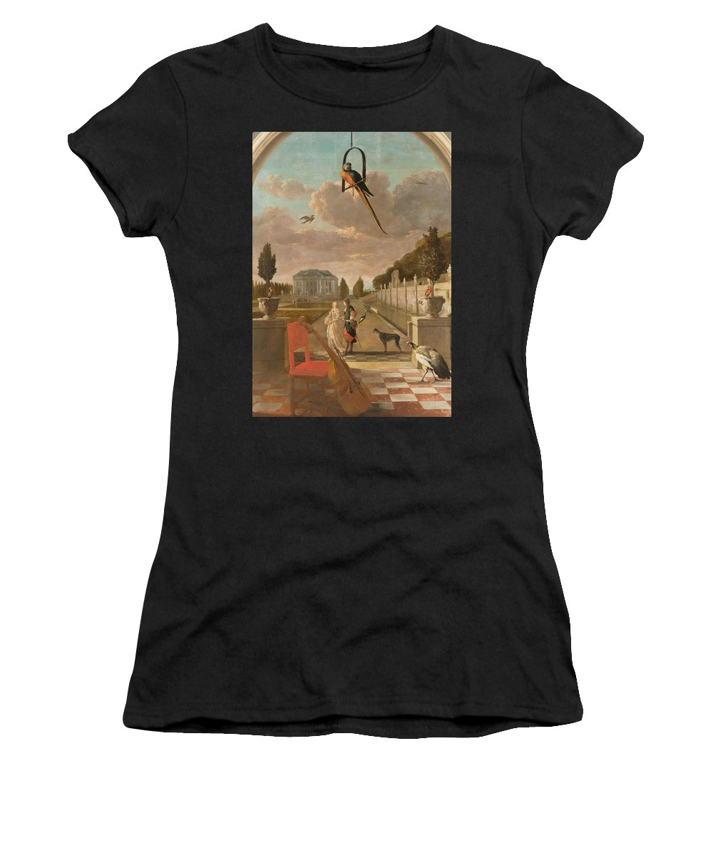Nature Women's T-Shirt (Athletic Fit) featuring the painting Park With Country House, Jan Weenix, 1670 - 1719 by Jan Weenix