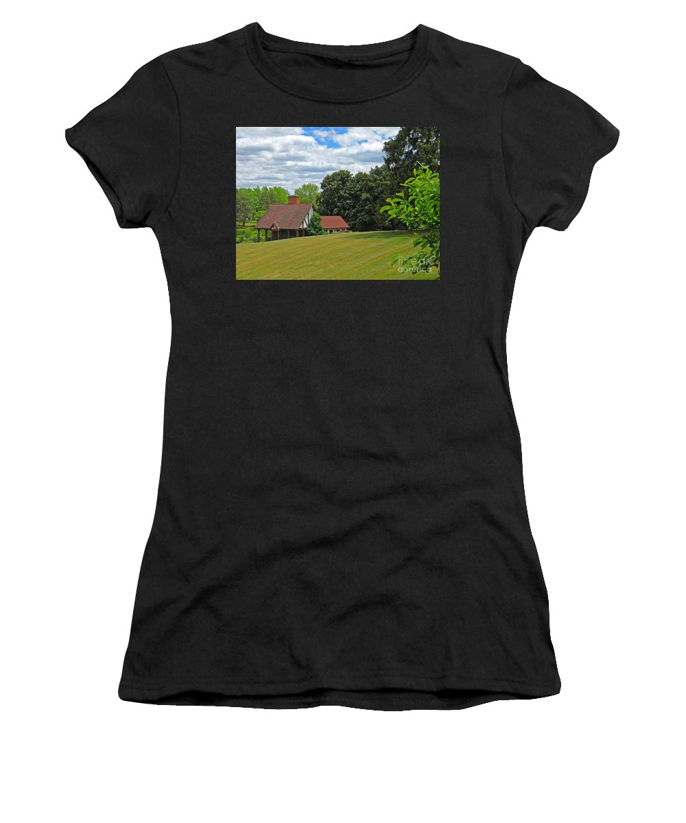 Landscape Women's T-Shirt (Athletic Fit) featuring the photograph Parkland Cottage by Ann Horn