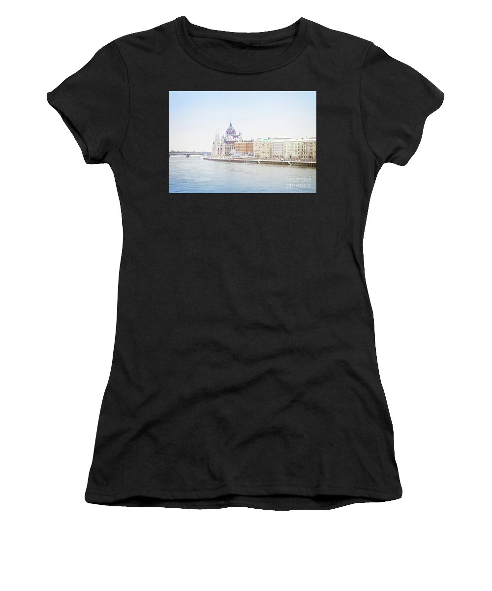 Budapest Women's T-Shirt (Athletic Fit) featuring the photograph parliament in Budapest by Anastasy Yarmolovich