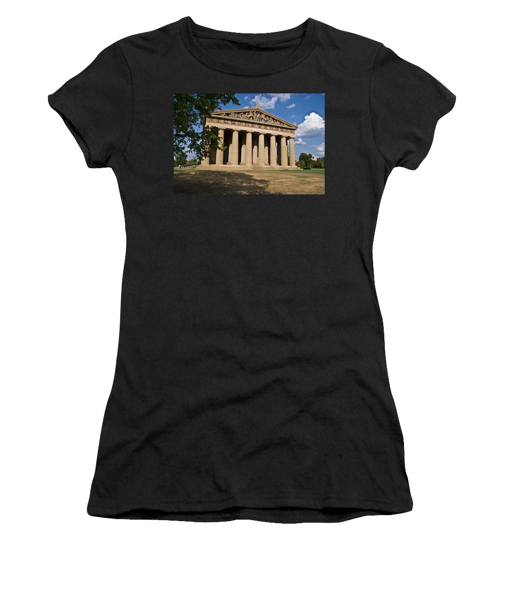 Parthenon Women's T-Shirt (Athletic Fit) featuring the photograph Parthenon Nashville Tennessee by Douglas Barnett