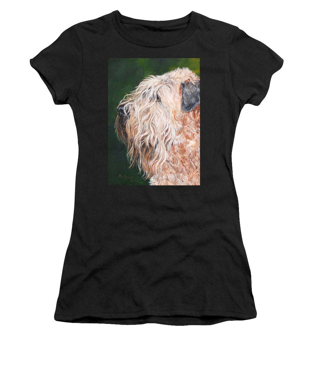 Dog Women's T-Shirt featuring the painting Pascal, Soft Coated Wheaten Terrier by Monika Brauer