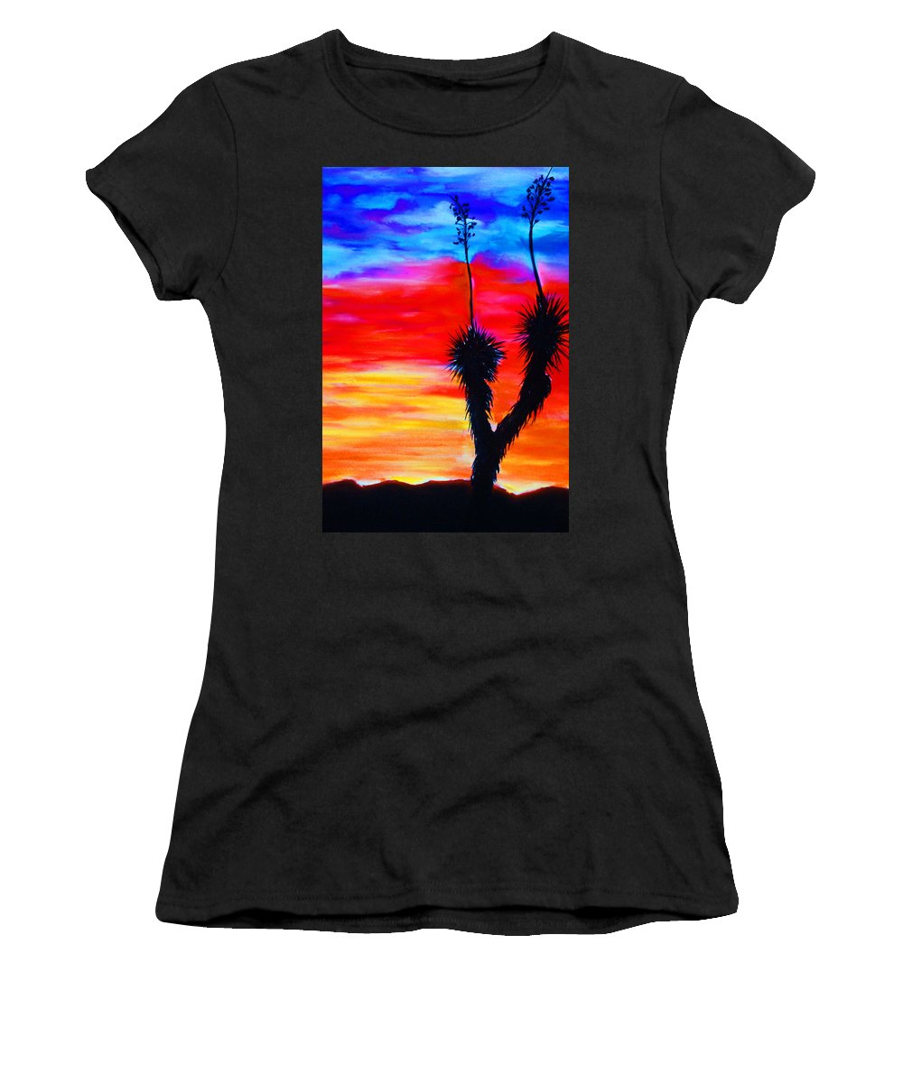 Sunset Women's T-Shirt (Athletic Fit) featuring the painting Paso Del Norte Sunset 1 by Melinda Etzold