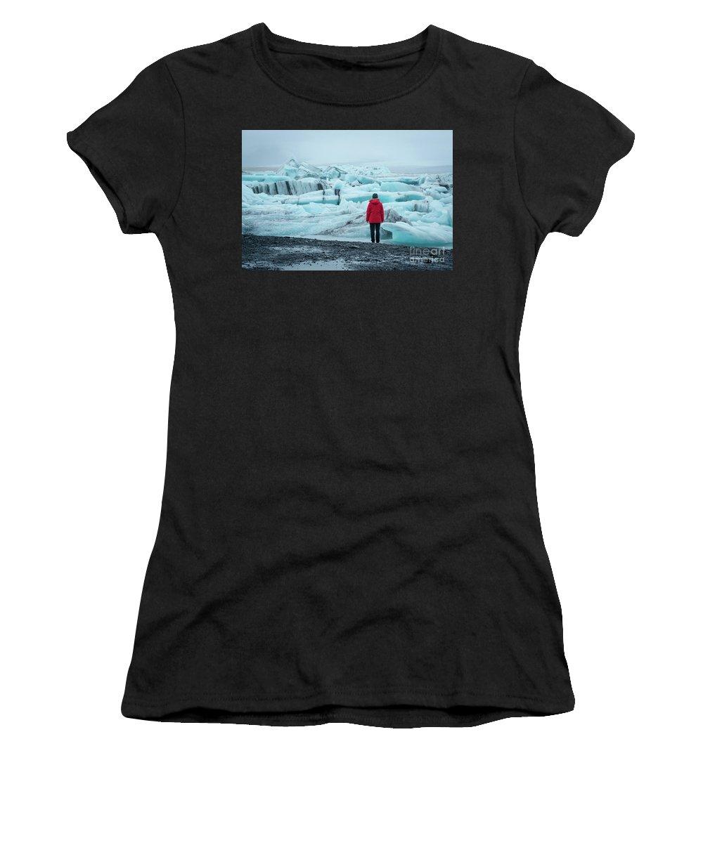 Jokulsarlon Women's T-Shirt featuring the photograph Passing Icebergs by Michael Ver Sprill