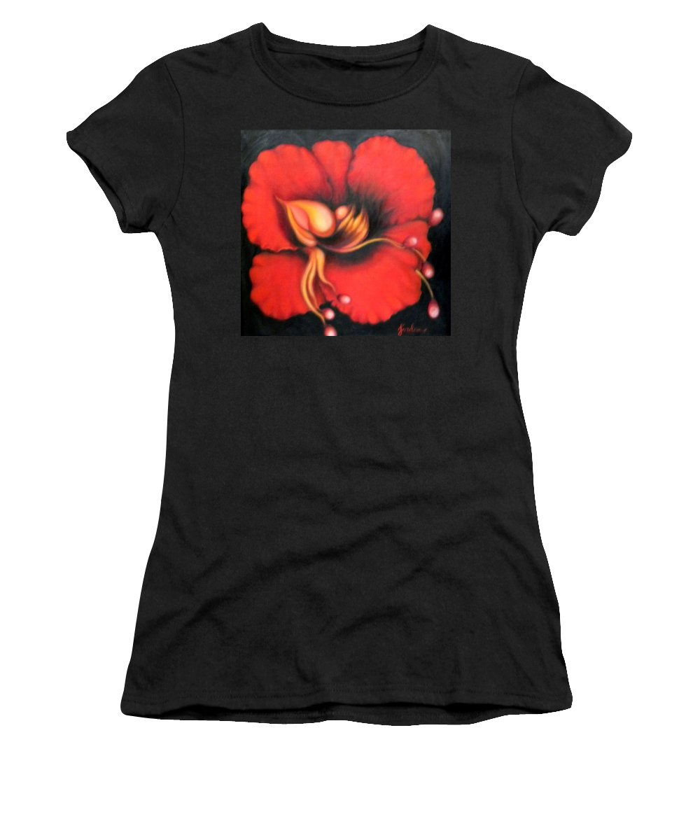 Red Surreal Bloom Artwork Women's T-Shirt (Athletic Fit) featuring the painting Passion Flower by Jordana Sands
