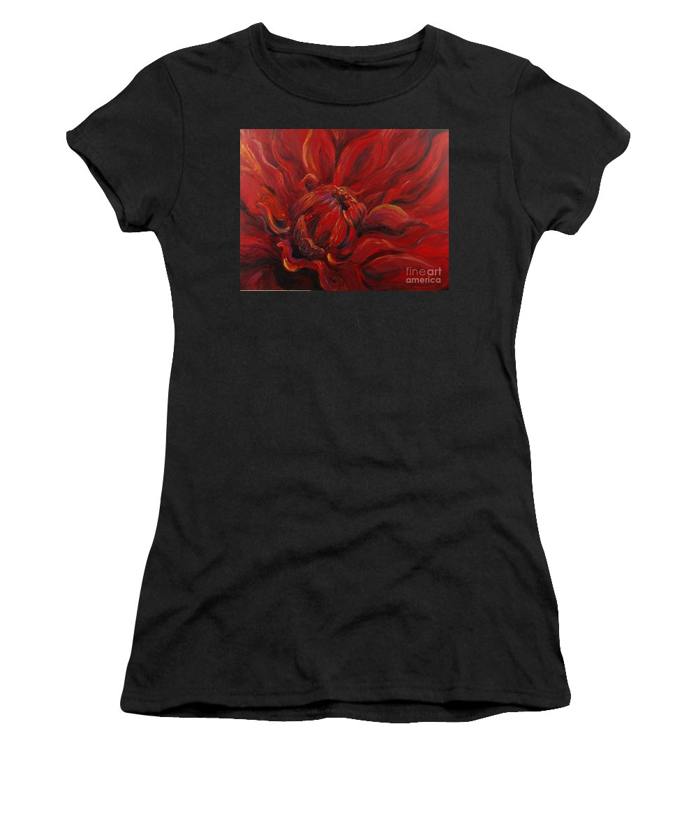 Red Women's T-Shirt featuring the painting Passion II by Nadine Rippelmeyer