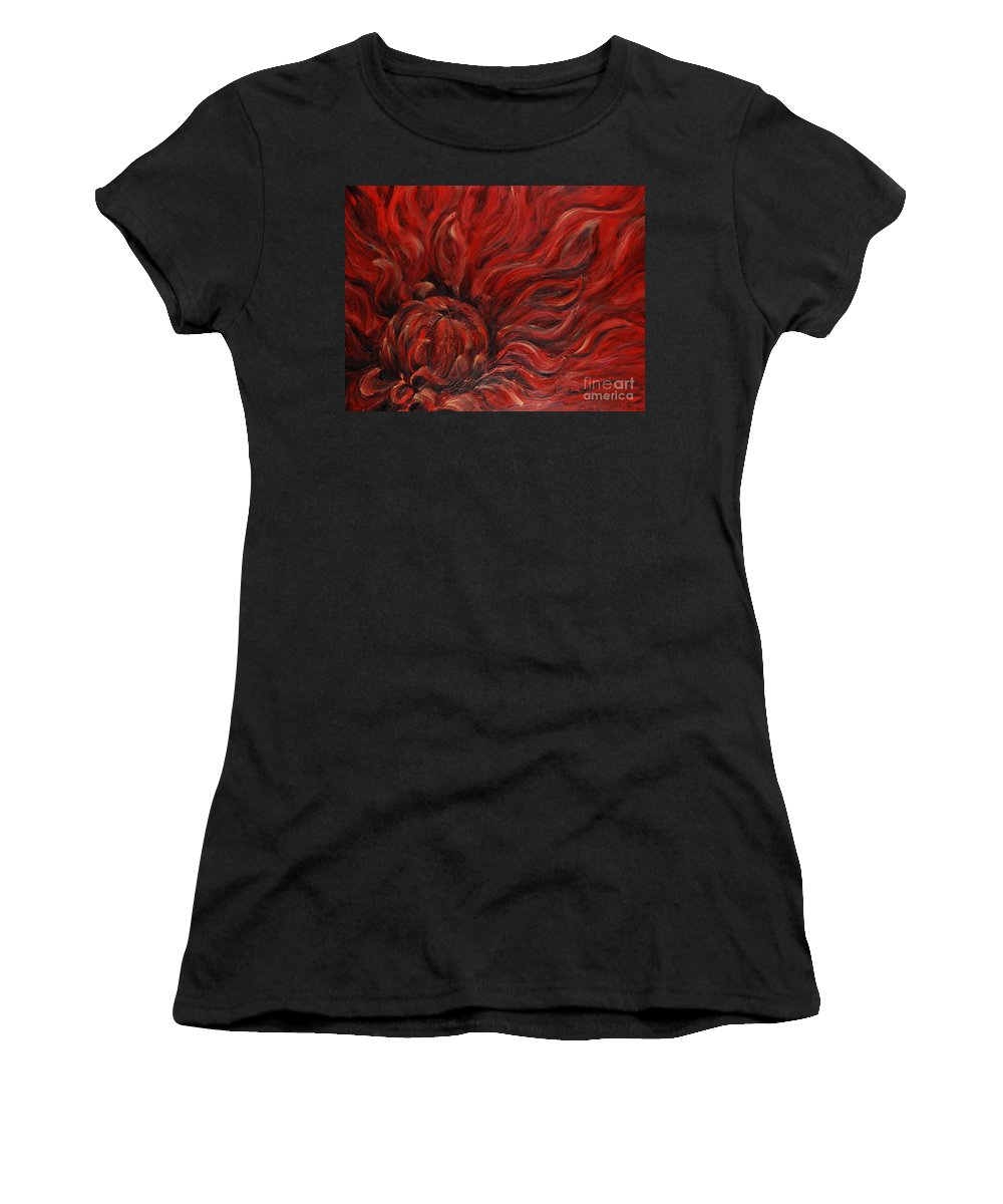 Flower Women's T-Shirt (Athletic Fit) featuring the painting Passion Iv by Nadine Rippelmeyer