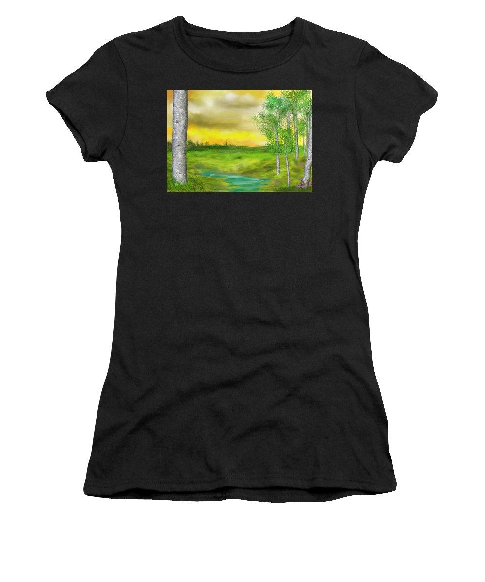 Landscape Women's T-Shirt (Athletic Fit) featuring the digital art Pastoral by David Lane