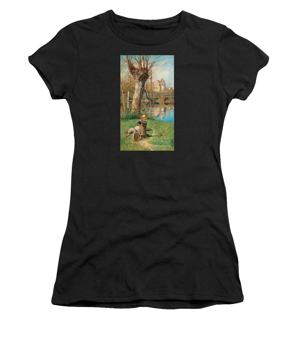 Georg Pauli Women's T-Shirt (Athletic Fit) featuring the painting Pastoral Scene On The Bank Of The Loing by MotionAge Designs