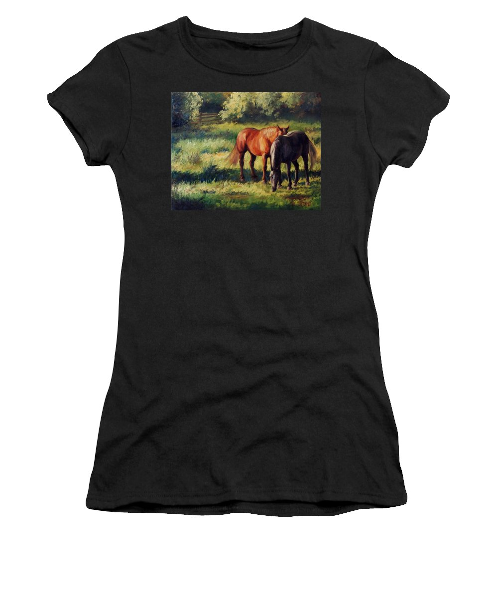Horse Women's T-Shirt (Athletic Fit) featuring the painting Pasture At Whites Crossing   Horse Painting by Kim Corpany