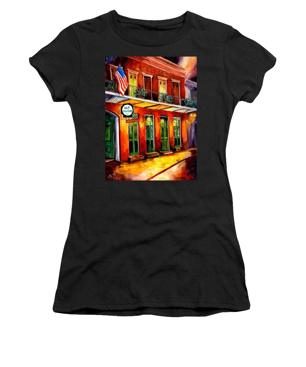 New Orleans Paintings Women's T-Shirt (Athletic Fit) featuring the painting Pat O Briens Bar by Diane Millsap