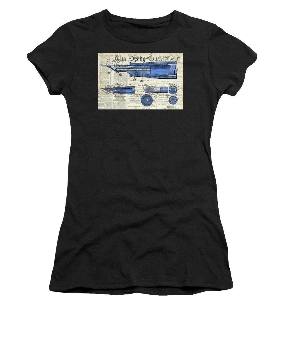 Patent Women's T-Shirt (Athletic Fit) featuring the digital art Patent, Old Pen Patent,blue Art Drawing On Vintage Newspaper by Drawspots Illustrations