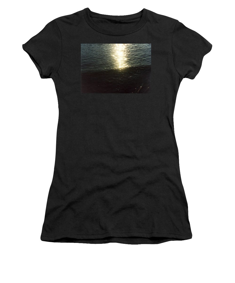 Path Of Sunlight On Water Women's T-Shirt (Athletic Fit) featuring the photograph Path Of Sunlight by Catt Kyriacou